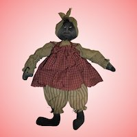 Fabulous Vintage Black Americana Cloth Doll Tuft of Hair Sculpted / Molded Features Folk Art
