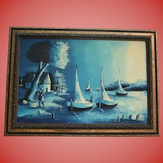 Haitian Blue Moonlight Seascape Fisherman Beach Night Scene  Oil Painting in Ornate Frame Applied with Roses