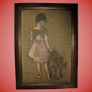 Girl with Dog after Picasso Lithograph in Beautiful Mid Century Frame