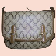 Gorgeous Gucci Vintage Front Flap GG Logo Monogram 1970s Crossbody  Handbag Shoulder Bag