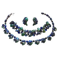 High End Kramer of New York Blue & Green Easter Egg Foil Necklace Bracelet & Earrings Full Parure Set