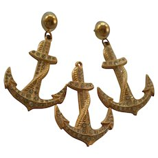 Summer St John Couture Anchor Brooch and Earrings Set Nautical Chic Gold Tone with Rhinestones