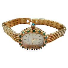 Geneve Genuine Emeralds Ladies Watch Quartz Vintage