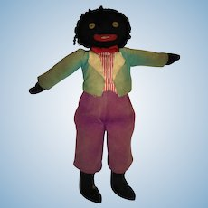 Old Black Americana Folk Art Male Cloth Doll with Button Eyes and Sewn Features