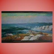 California School 4 Ft Wide Cresting Ocean Waves Seascape Beach Oil Painting