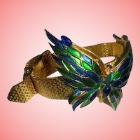 CROWN TRIFARI Enamel Mounted Butterfly Mesh Wrap Around Belt Buckle Bracelet