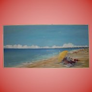 4FT Large Summer Beach Scene Oil Painting by Julie Young ~ Nantucket Artist Association Exhibited