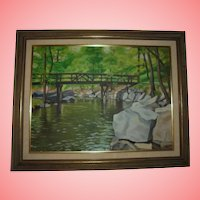 1961 Bronx River Footbridge by Rocks Plein Air Landscape Oil Painting Westchester County New York