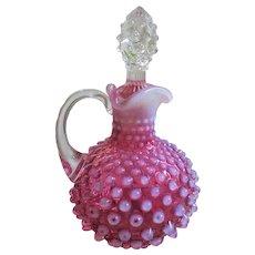 Hobbs Brockunier Dew Drop Cranberry Glass Cruet with Clear Stopper