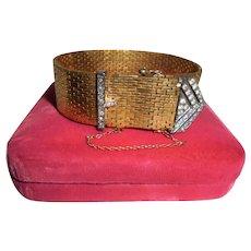 Scarce Vermeil Sterling Early Signed Ciner Art Deco Era Brickwork Wrap Bracelet w/Sterling Geometric Buckle