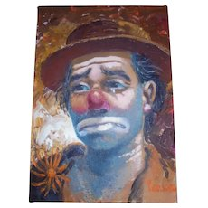 "c1940s California Artist William Persona ""Clown"" Original Oil Painting"
