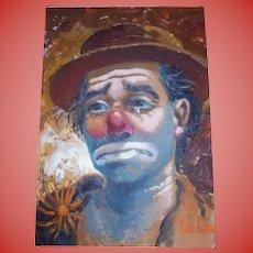 """c1940s California Artist William Persona """"Clown"""" Original Oil Painting"""