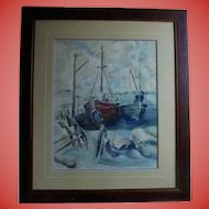 Stunning Sailing Boats in Harbor Watercolor Painting Yachts Seascape