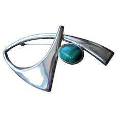 Fabulous Mid-Century Modernist Sterling Silver & Malachite Brooch