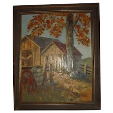 Fall / Autumn Rustic American Impressionist Plein Air Country Barn Scene Landscape Oil Painting