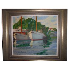 Beautiful Oil Painting Ships in Harbor Seascape by Olle Skoggman Swedish Listed Artist