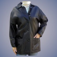 Size L Ladies Italian Black Leather Jacket Car Coat by Athos Florence Italy