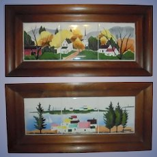 Pair Original Triptych Painted Tiles by Giorgi Manuilov (Russian/ American) Mid Century Mod MCM Seascape Landscape Walnut Wood Deep Frames