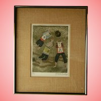c1970 Graciela Rodo Boulanger Signed Original Engraving Children Playing Sports Rugby Soccer Bolivia Listed Artist