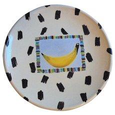 "1989 Large Fruit Center Piece Bowl Contemporary Art Studio Pottery Artist Signed ""Cross"""