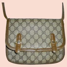 1970s Gucci Vintage Front Flap GG Logo Monogram Crossbody  Handbag Shoulder Bag