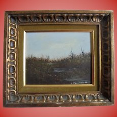 NJ/ Philadelphia Artist John Lewis Egenstafer 1968 Oil Painting Landscape of Marsh Land in Gilt  Ornate Frame