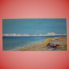 4FT Nantucket Artist Association Exhibited Large Beach Scene Oil Painting by Julie Young