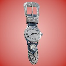 Cowgirl Ladies Remington Western Buckle Style Watch Brooch Swiss Manual Wind