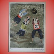 c1970 Graciela Rodo Boulanger Signed Original Engraving Children Playing Sports Rugby Soccer Bolivia Listed Artist