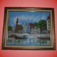 Highly Decorative Amsterdam Seascape River Scene  Painting
