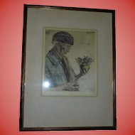 Original Paul Geissler (Germany) Signed Etching with Ernst Geissendorfer Label