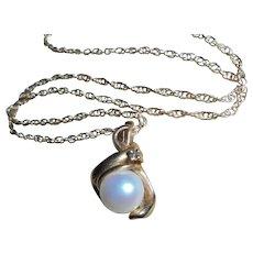 14K Gold Diamond & Cultured Pearl Pendant Necklace