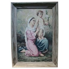 1950s Madonna and Child Jesus Easter Lily Beautiful Oil Painting by Italian / American Church Muralist Painter