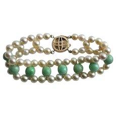 Exquisite 14K Gold Jade & Cultured Pearl Triple Strand Vintage Bracelet