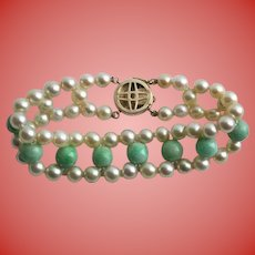 Exquisite 14K Gold Jade & Cultured Pearl Triple Strand Vintage Bracelet