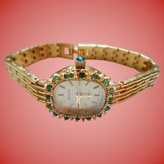 Geneve Genuine Emeralds Ladies Watch Quartz Vintage