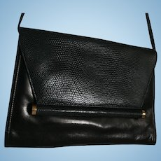 Neiman Marcus Black Leather and Lizard Convertible Clutch Purse Shoulder Bag Crossbody Vintage Stunning Handbag