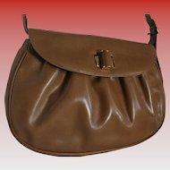 50% Off Sale! Salvatore Ferragamo Vintage Tan Ribbed Leather Spring Shoulder Bag Never Used with Dust Bag Spring Handbag