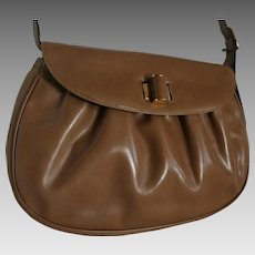 Salvatore Ferragamo Vintage Tan Ribbed Leather Spring Shoulder Bag Never Used with Dust Bag Spring Handbag