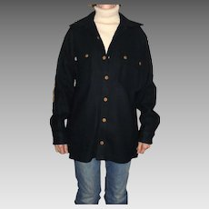 Pendleton Lobo Vintage Camping / Outdoors 100% Virgin Wool Blue Mens Jacket Size Medium with Elbow Patches