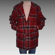 Pendleton Red Plaid Men's Wool Jacket Size M Beautiful Mint Condition Outdoor Camping
