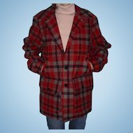 Pendleton Red Plaid  Wool Jacket Size M Beautiful Mint Condition Outdoor Camping