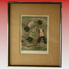 Bolivian Listed Artist c1970 Graciela Rodo Boulanger Signed Original Engraving Artwork Children Playing Sports Theme Soccer