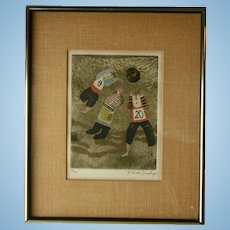 c1970 Graciela Rodo Boulanger Signed Original Engraving Artwork Sports Theme