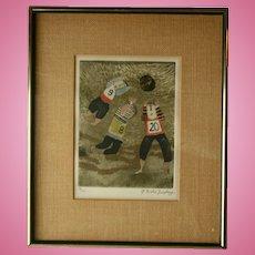 c1970 Graciela Rodo Boulanger Signed Original Engraving Artwork Sports Theme Soccer World Cup