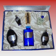 Music Box Set Evening in Paris Perfume Vintage Blue Glass Boxed Set 6 Piece