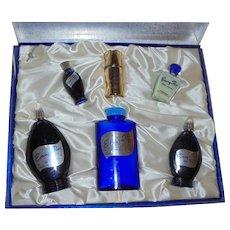 Music Box Set Evening in Paris Perfume Vintage Blue Glass Boxed Set 6 Piece