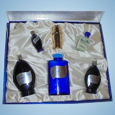 Music Box Set Evening in Paris Perfume Vintage Blue Glass Boxed Set 6 Piece Wedding Gift