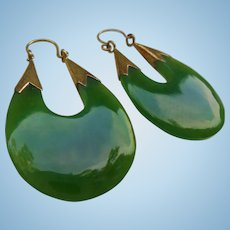Genuine Jade Chunky Dangle Elongated Gold-Plated Hoop Earrings