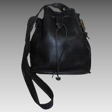 "Vintage Coach ""Lula"" Drawstring Bucketbag Black Leather Handbag Made in USA  #9952"